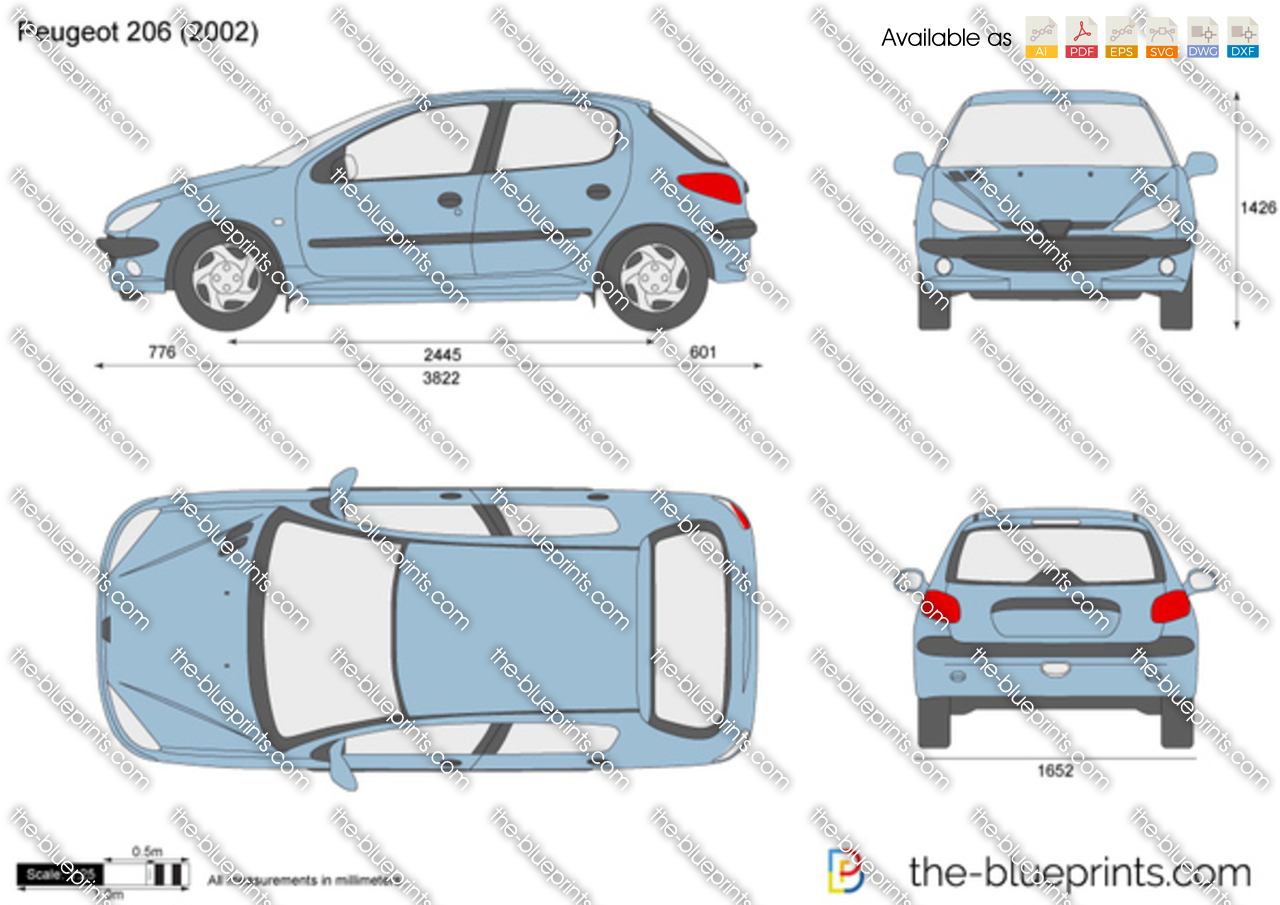Peugeot 206 Vector Drawing