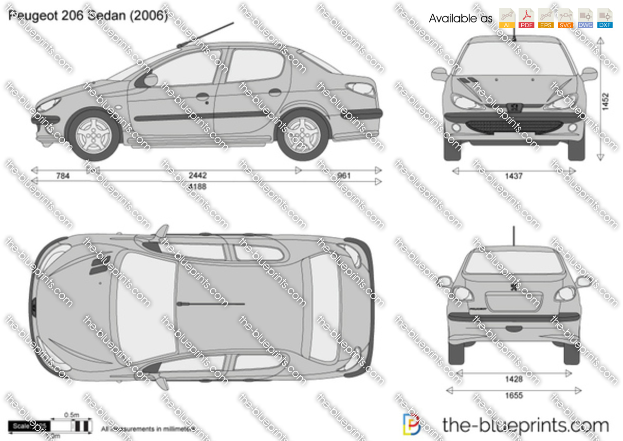peugeot 206 sedan vector drawing. Black Bedroom Furniture Sets. Home Design Ideas