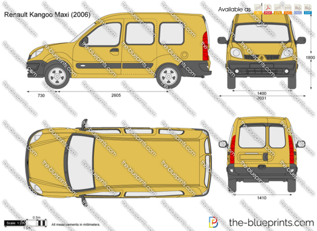 The vector drawing renault kangoo maxi for Dimension interieur kangoo utilitaire