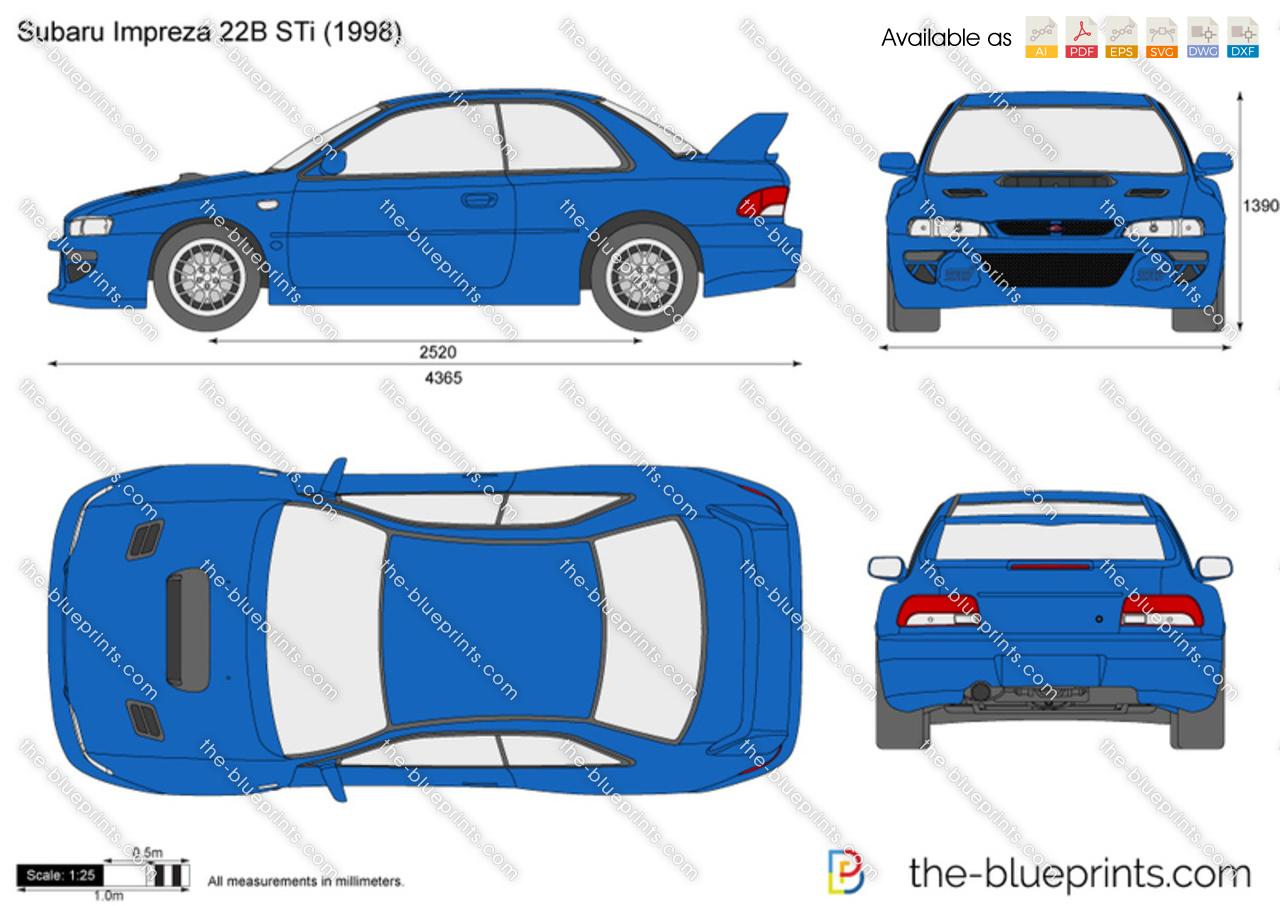 Subaru Impreza 22B STi vector drawing