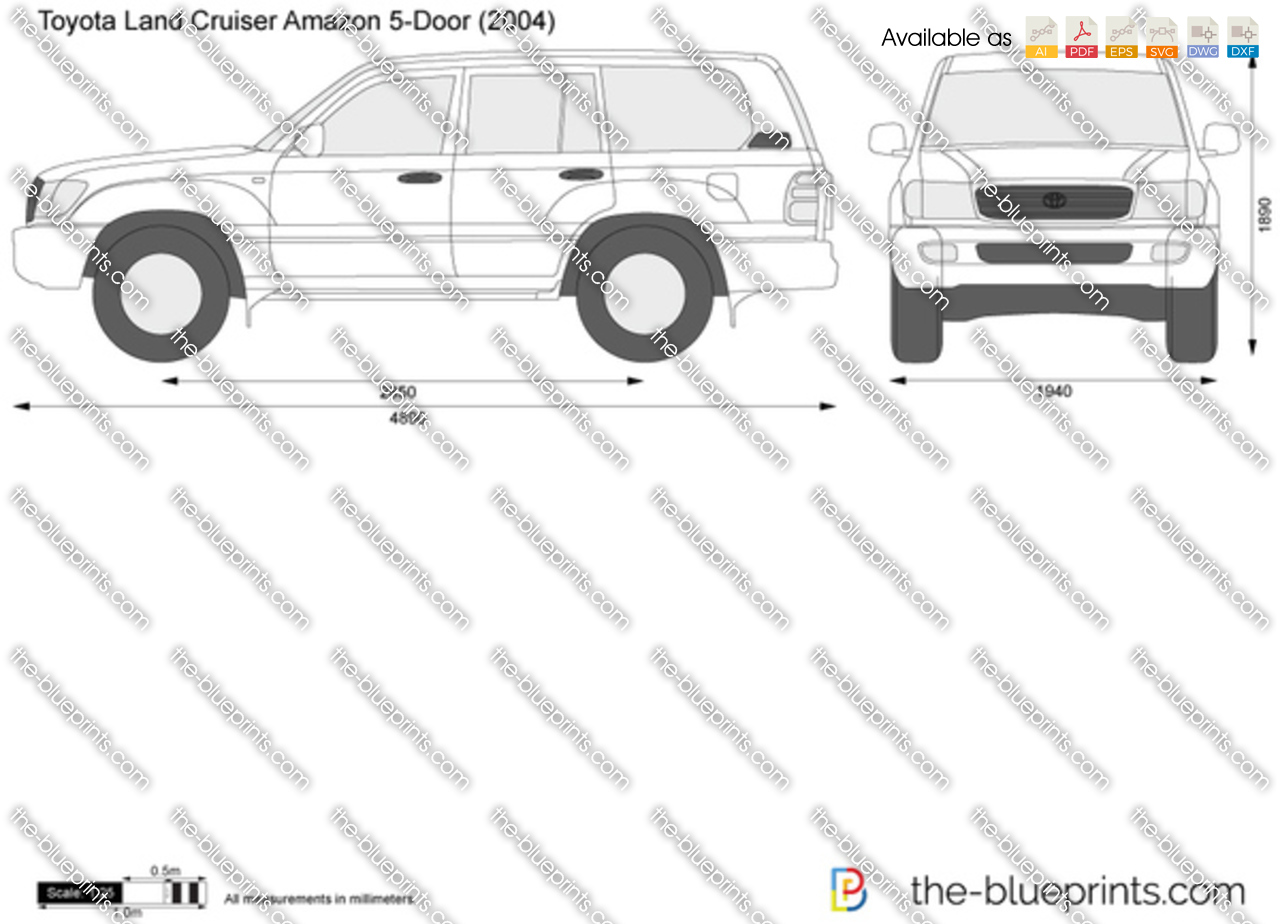 toyota land cruiser amazon  door vector drawing