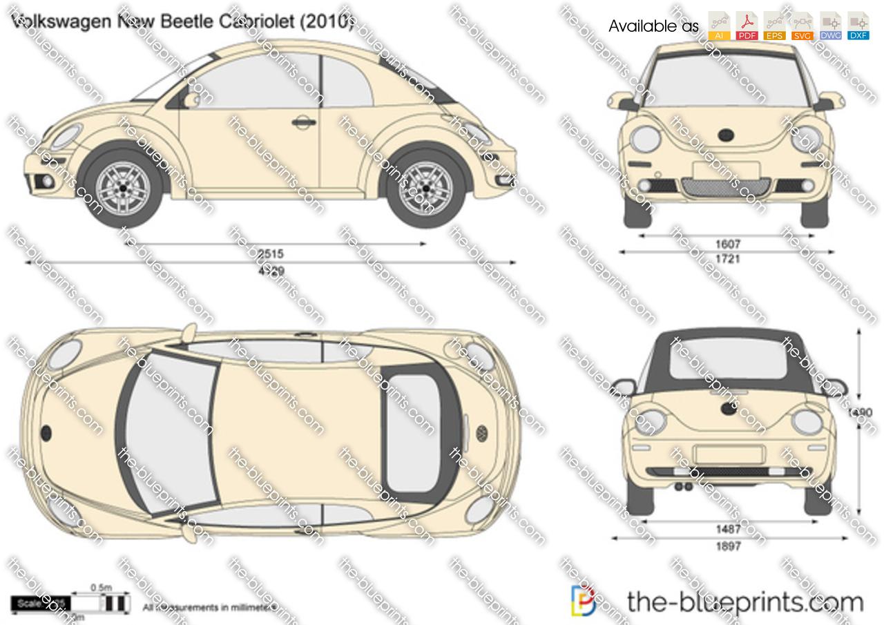 The-Blueprints.com - Vector Drawing - Volkswagen New Beetle Cabriolet
