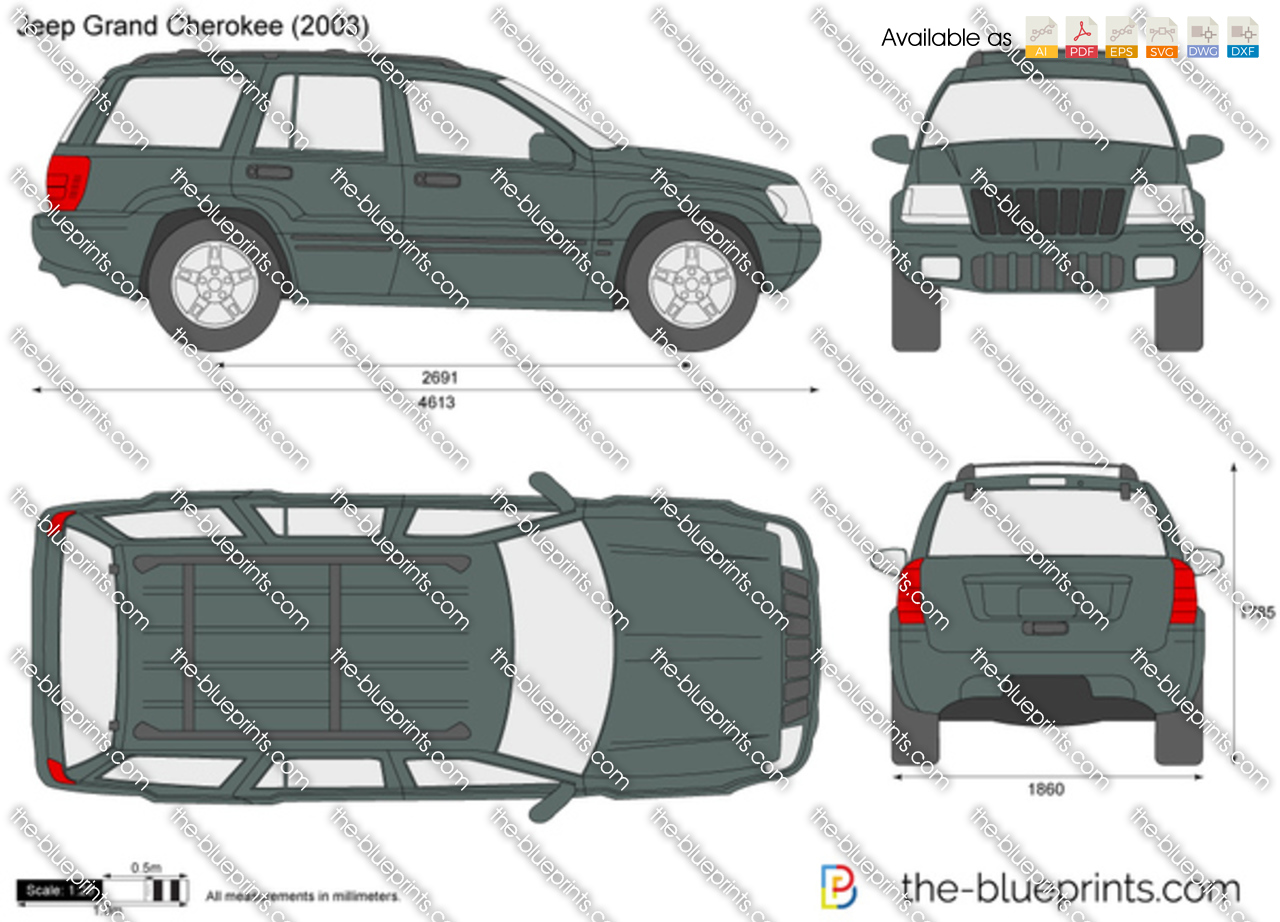 Jeep Grand Cherokee Vector Drawing 1999