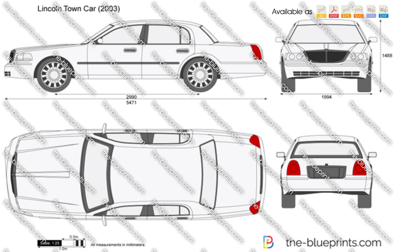 Lincoln Town Car Vector Drawing