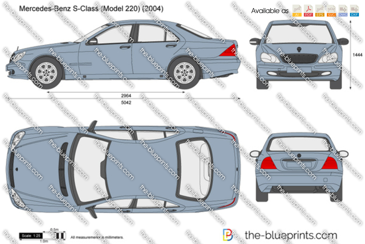 Mercedes Benz S Class W220 Vector Drawing