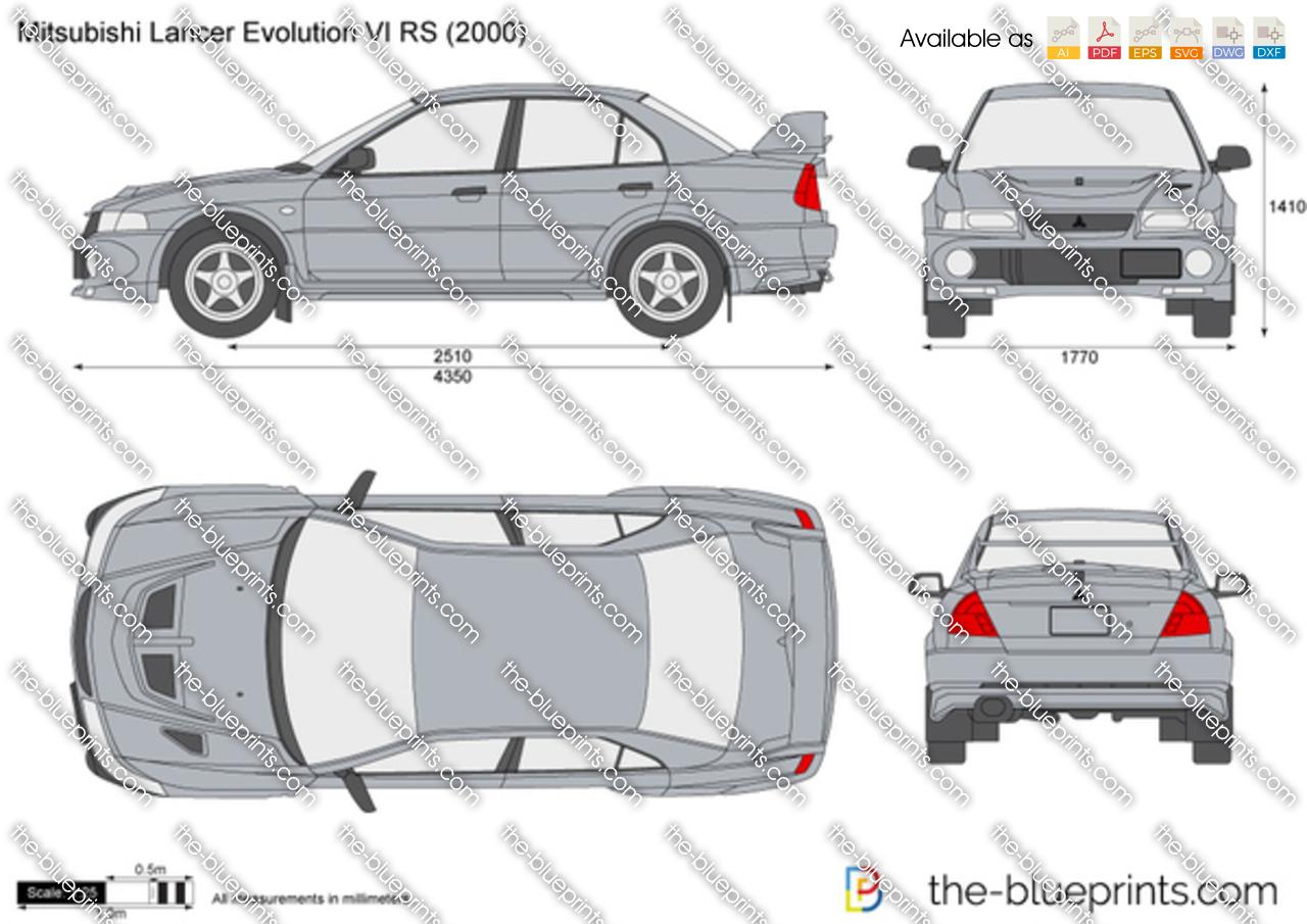 Mitsubishi Lancer Evolution VI RS vector drawing