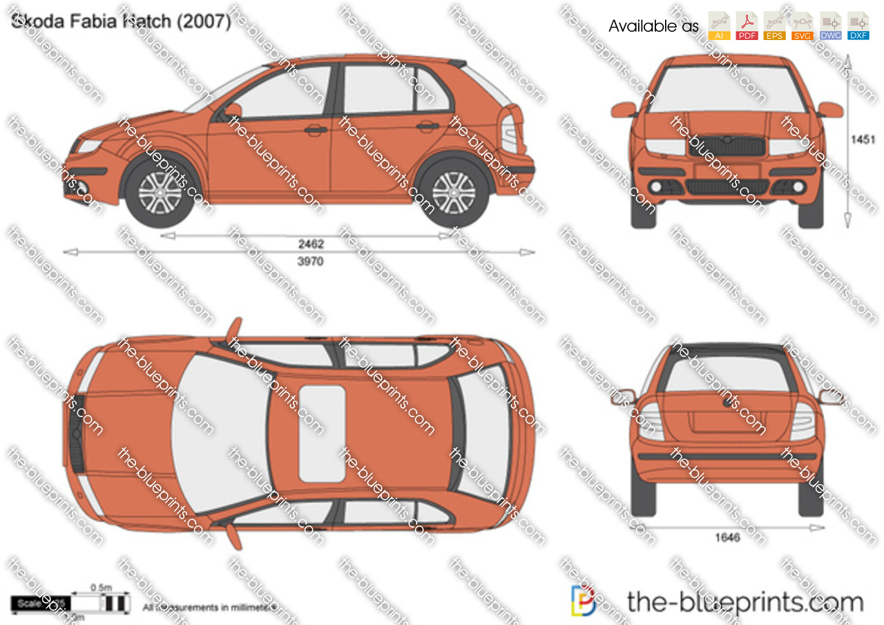 skoda fabia hatch vector drawing. Black Bedroom Furniture Sets. Home Design Ideas