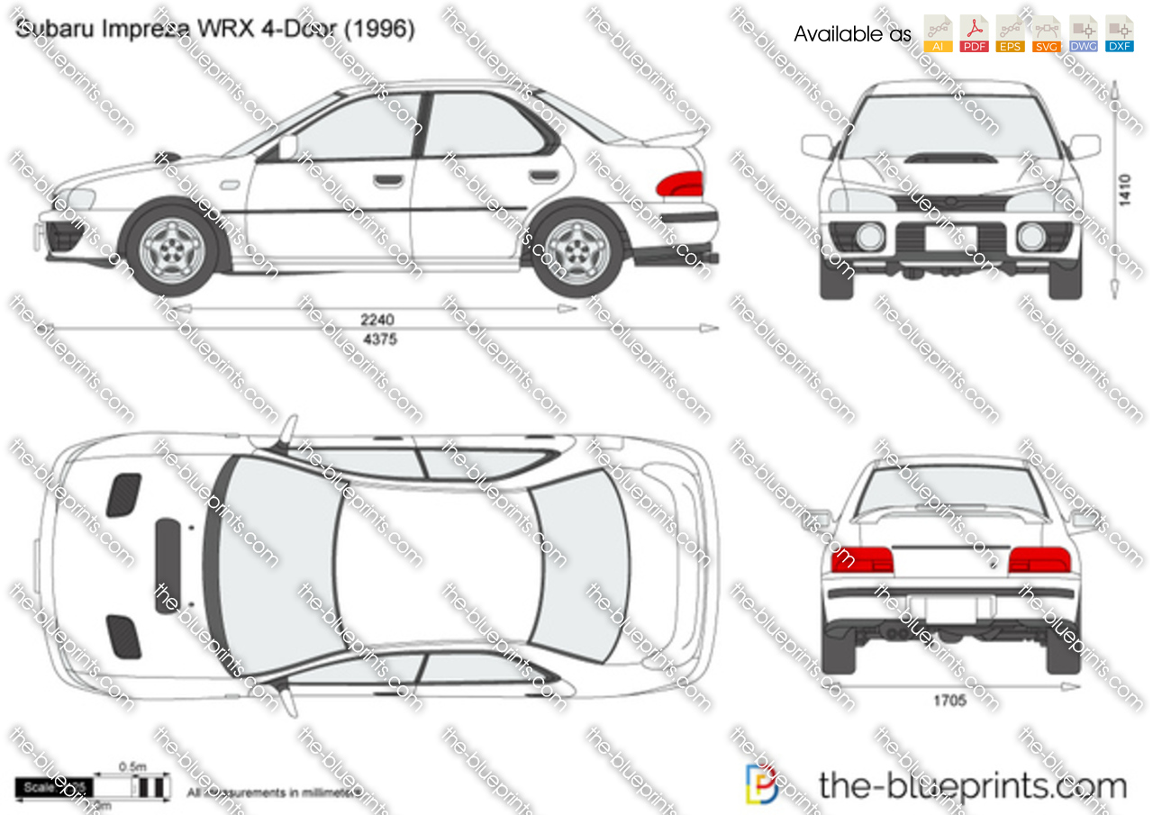 Subaru Impreza Wrx 4 Door Vector Drawing
