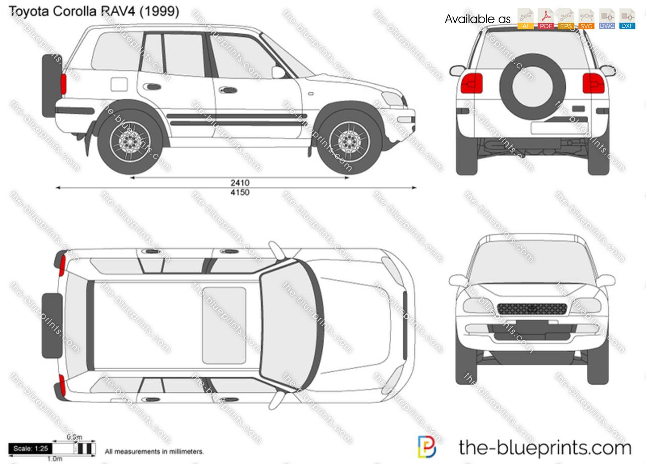2002 Rav4 Dimensions >> Toyota Corolla Rav4 Vector Drawing