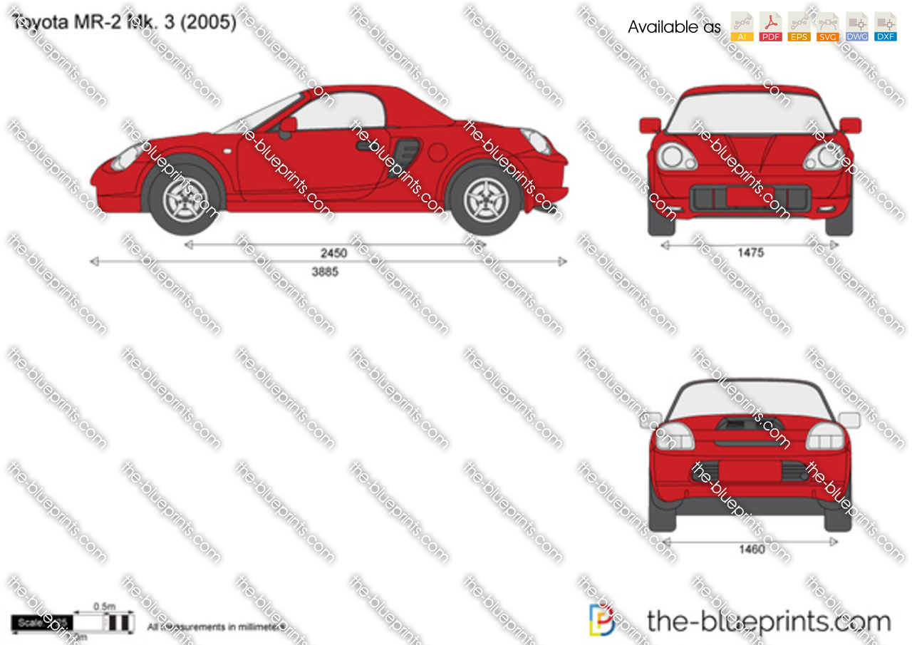 TheBlueprintscom  Vector Drawing  Toyota MR2 Mk 3