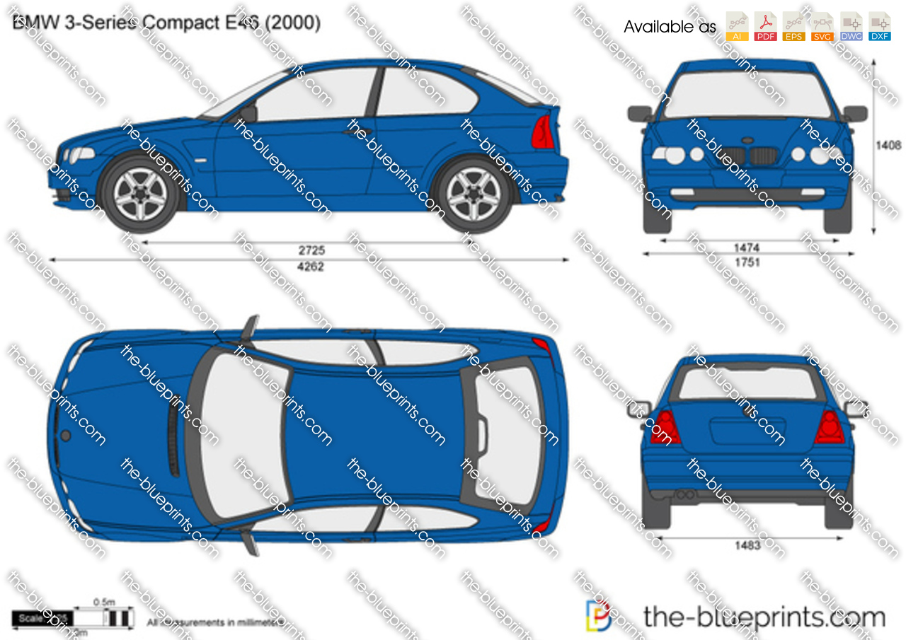 BMW 3-Series Compact E46 vector drawing