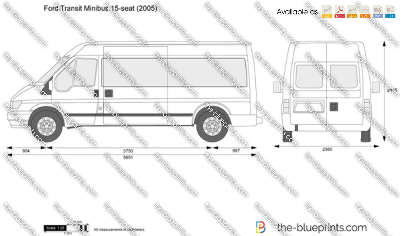 Ford Transit Minibus 15 Seat Vector Drawing