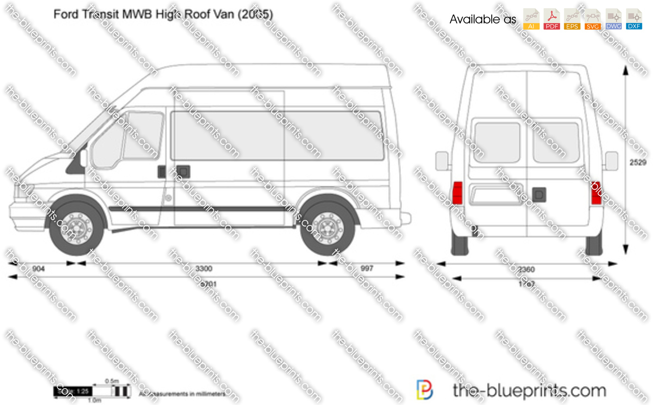e6b5f44da75033 Ford Transit MWB High Roof Van vector drawing