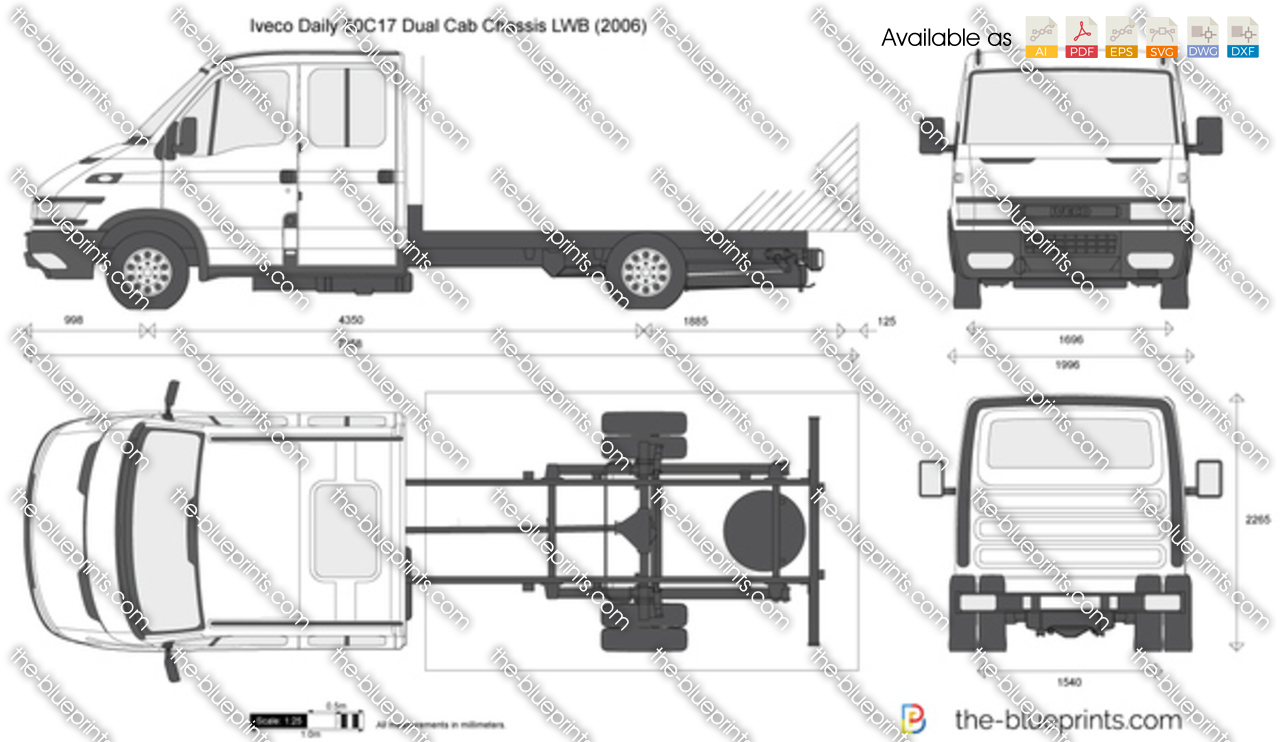 iveco daily 50c17 dual cab chassis lwb vector drawing. Black Bedroom Furniture Sets. Home Design Ideas