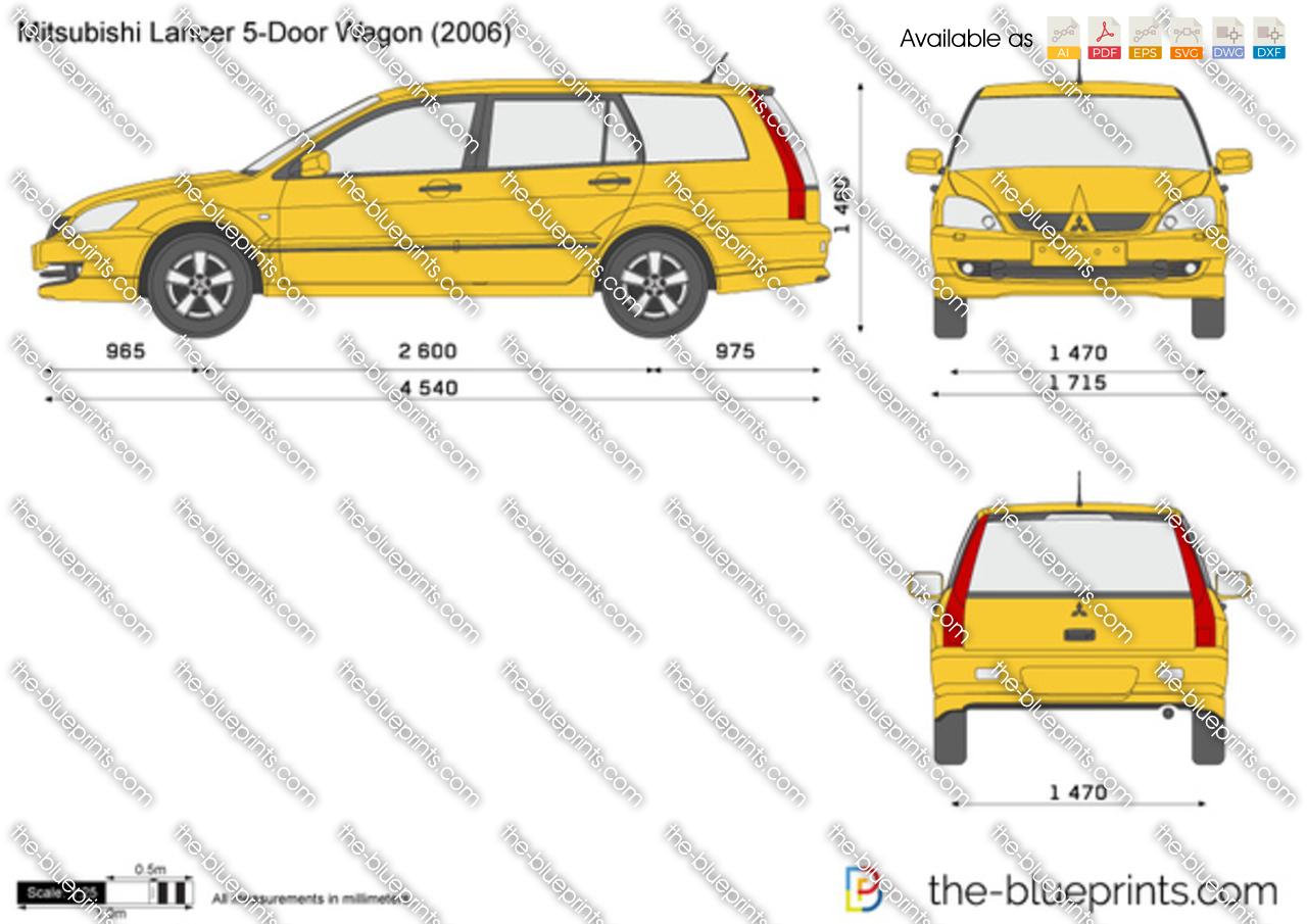 Mitsubishi Lancer 5 Door Wagon Vector Drawing