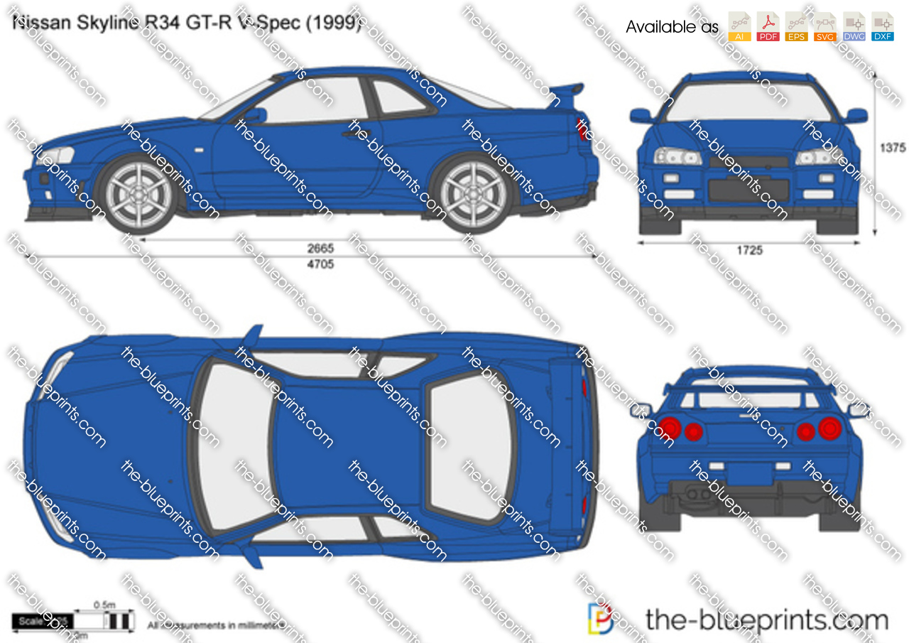 the vector drawing nissan skyline r34 gt r v spec. Black Bedroom Furniture Sets. Home Design Ideas