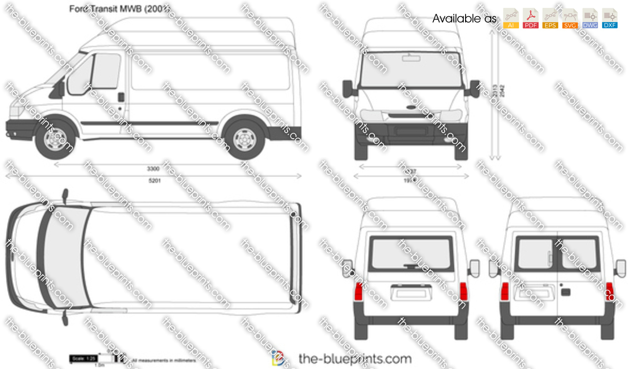 the vector drawing ford transit mwb. Black Bedroom Furniture Sets. Home Design Ideas