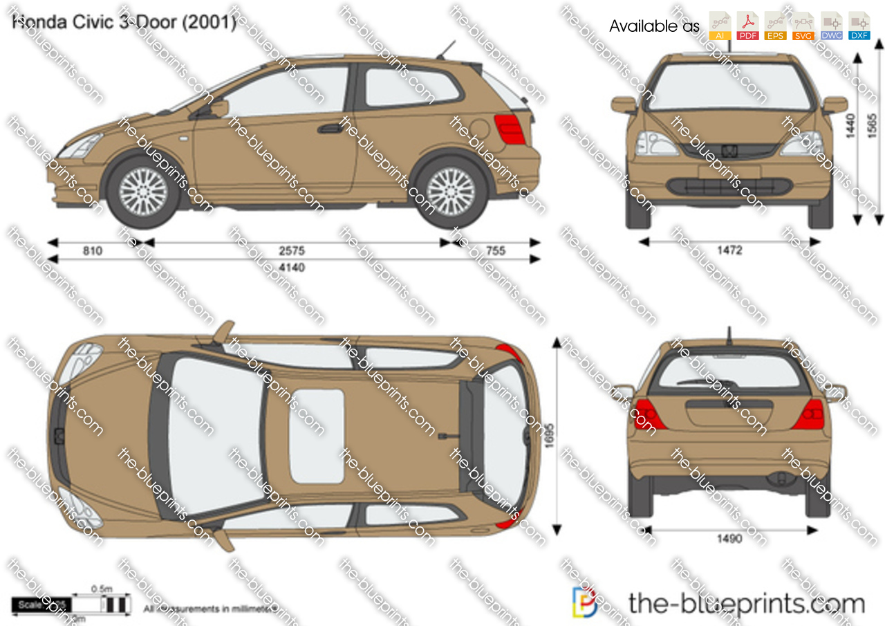 The Blueprints Com Vector Drawing Honda Civic 3 Door