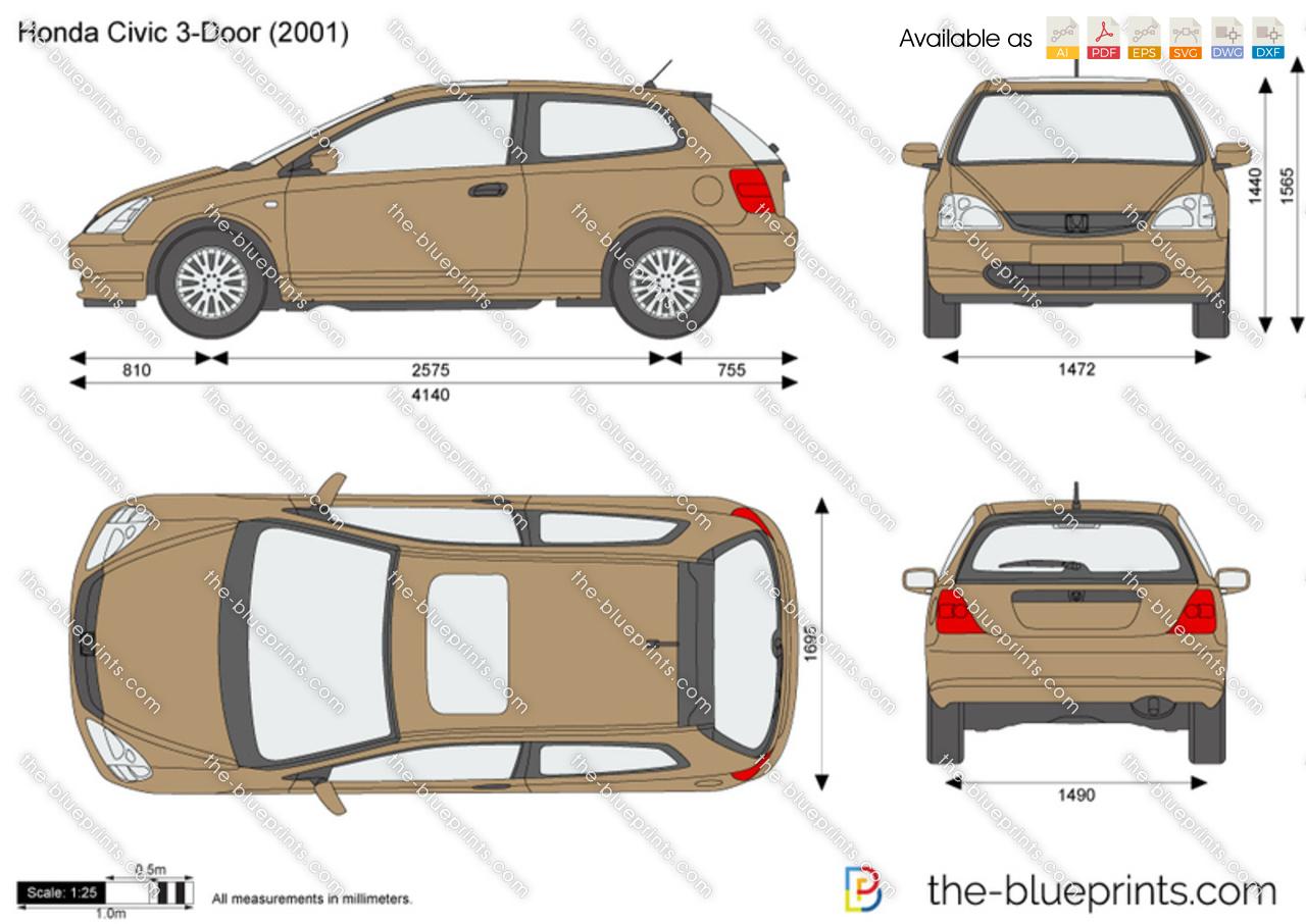 Honda civic 3 door vector drawing for Honda civic hatchback dimensions
