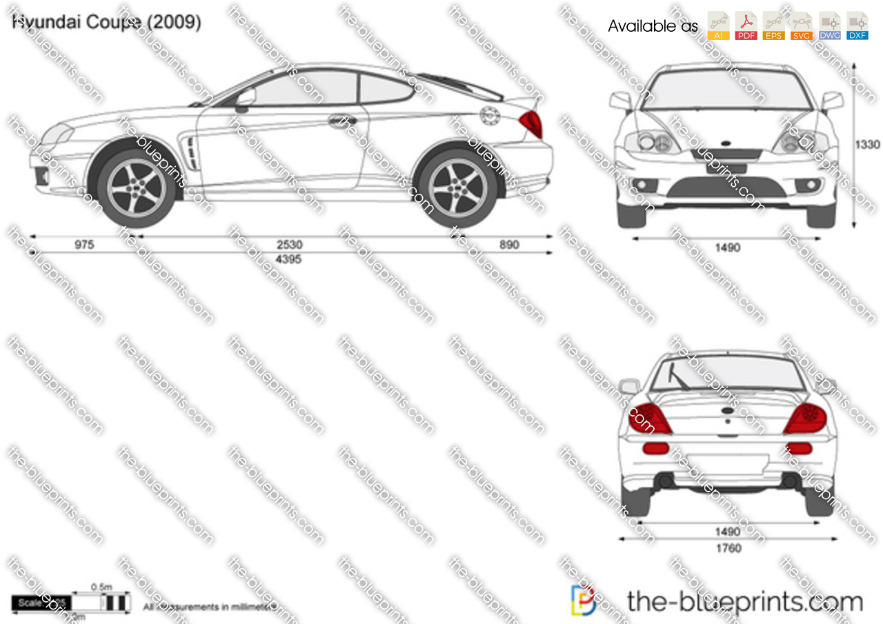 Hyundai Coupe Vector Drawing