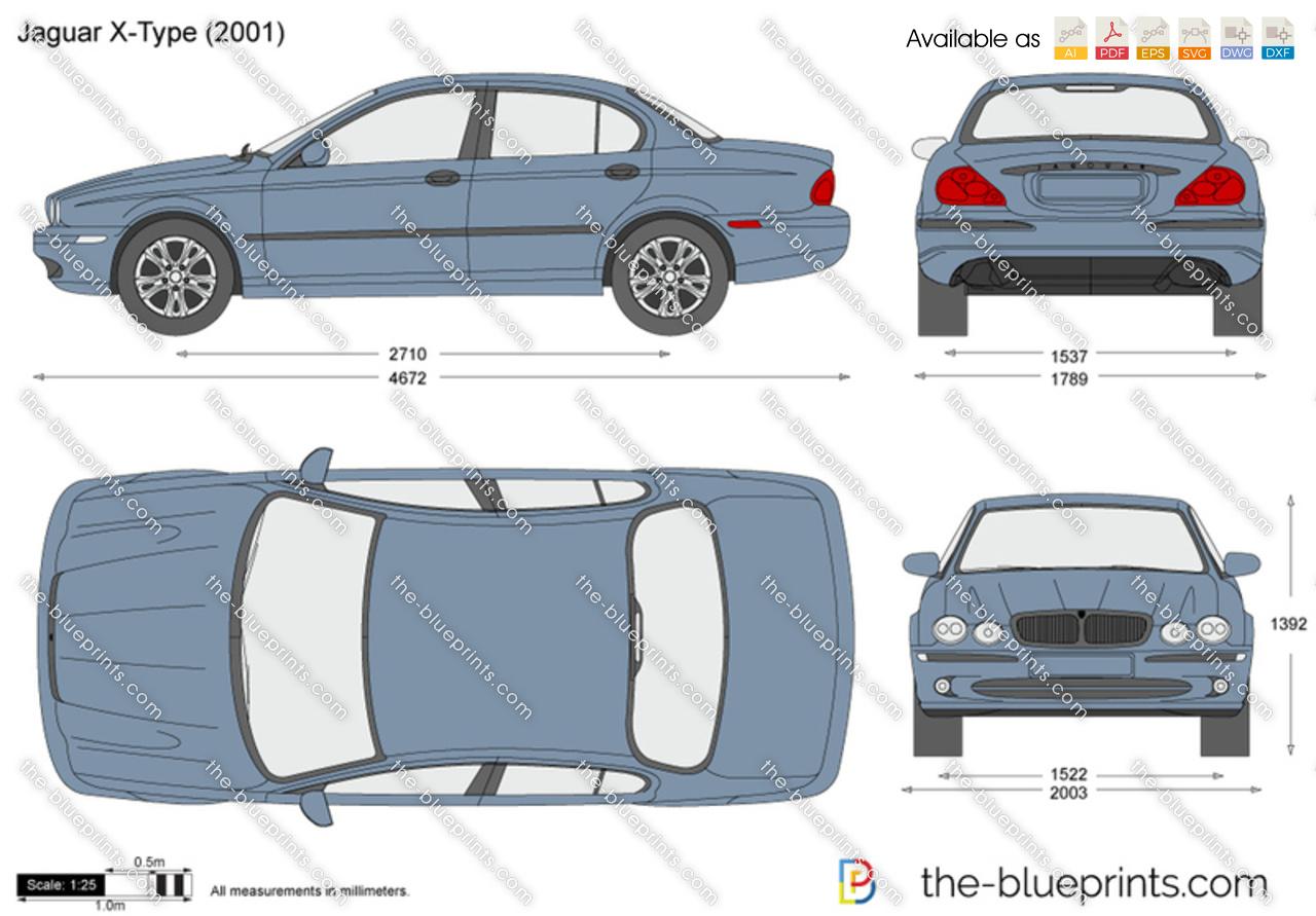Jaguar X Type Vector Drawing 2003