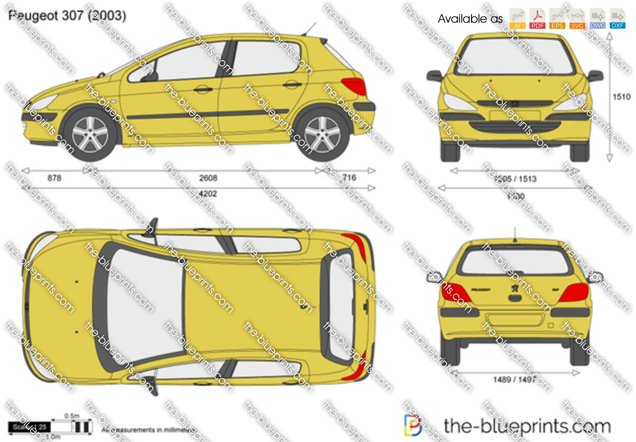 Range Rover Evoque Dimensions >> Peugeot 307 vector drawing