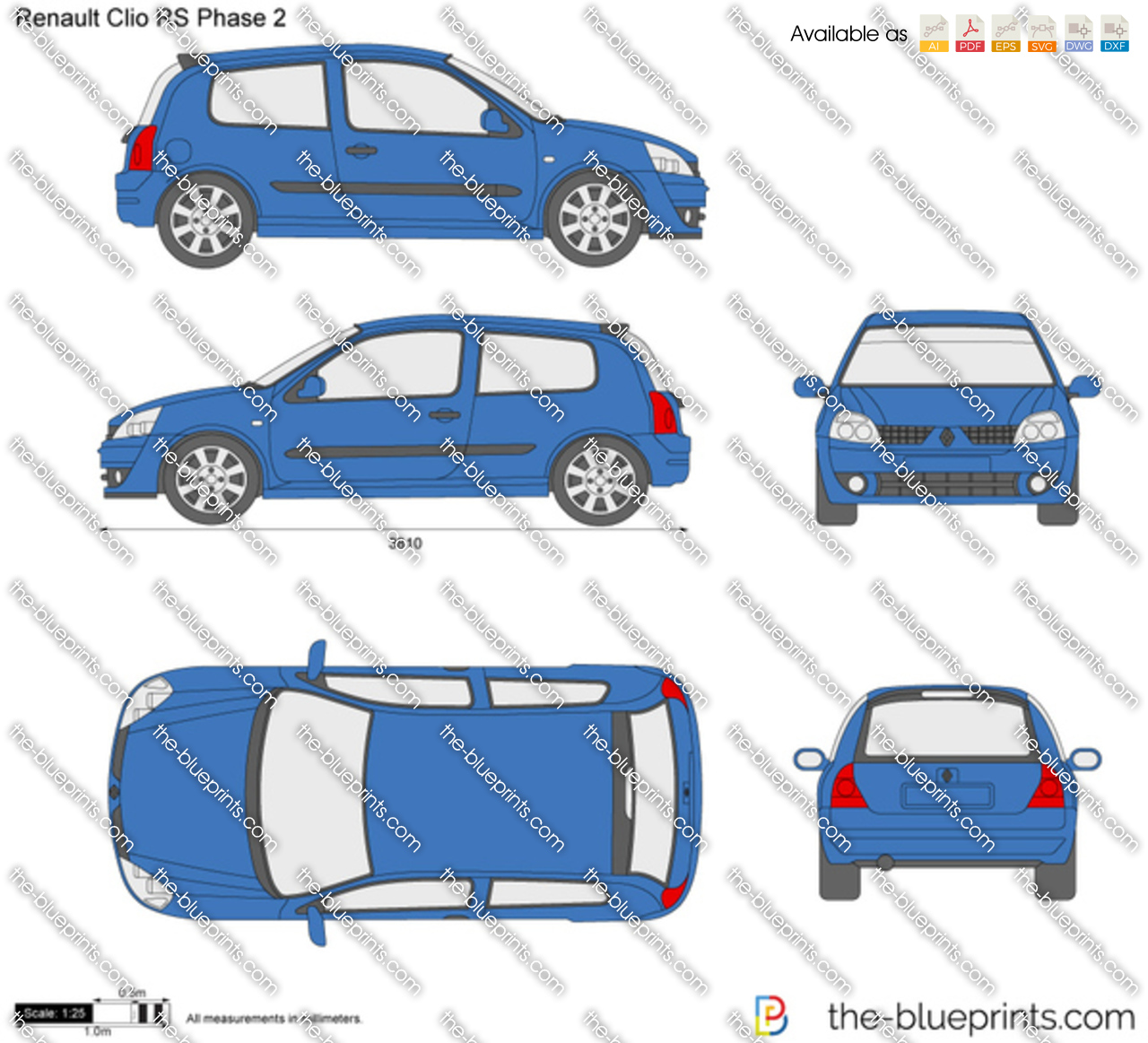 renault clio rs phase 2 vector drawing. Black Bedroom Furniture Sets. Home Design Ideas