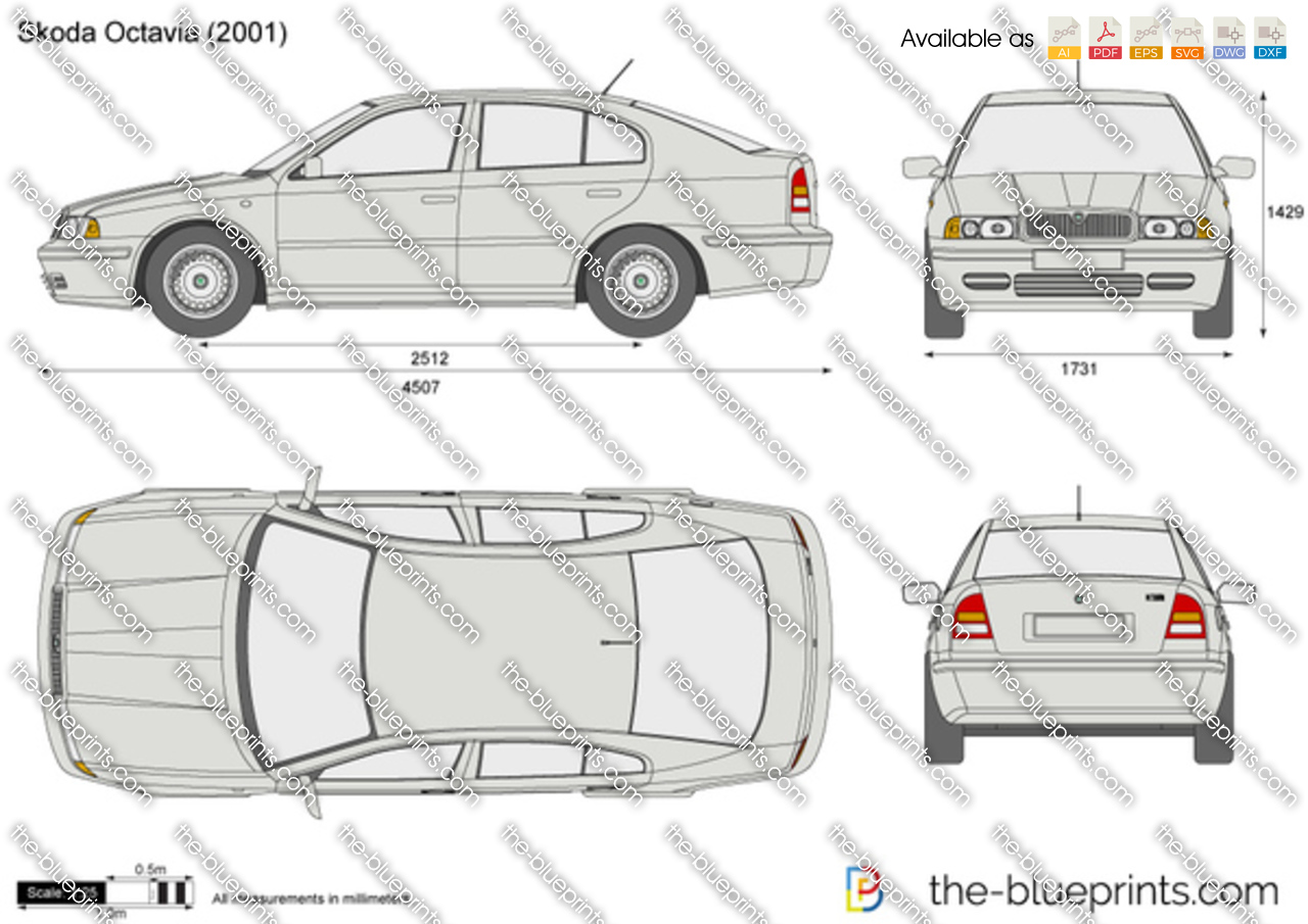 Skoda Octavia vector drawing