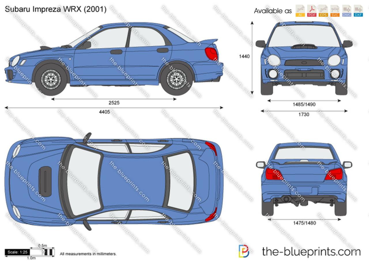 Subaru Impreza Wrx Vector Drawing