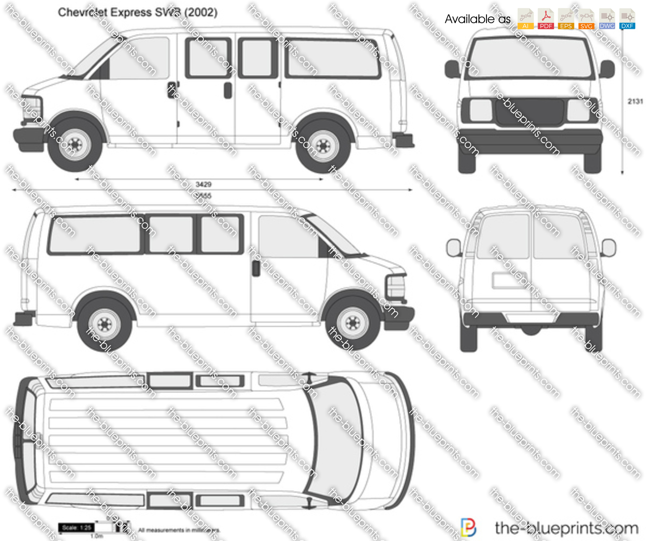 Chevrolet Express SWB Vector Drawing