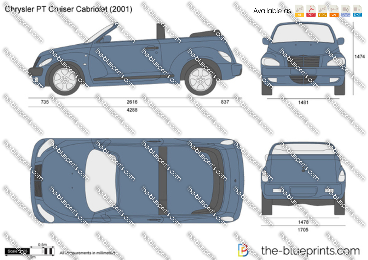 chrysler pt cruiser cabriolet vector drawing. Black Bedroom Furniture Sets. Home Design Ideas
