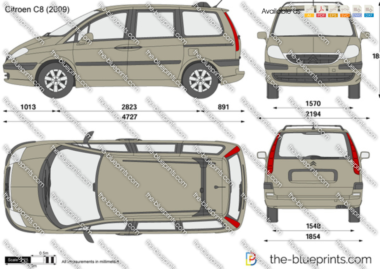 Citroen C8 Vector Drawing