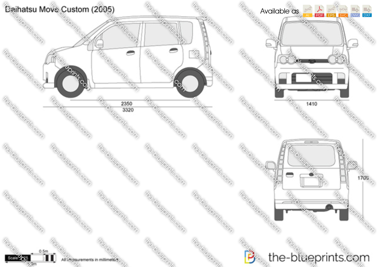 The vector drawing daihatsu move custom for Custom blueprints