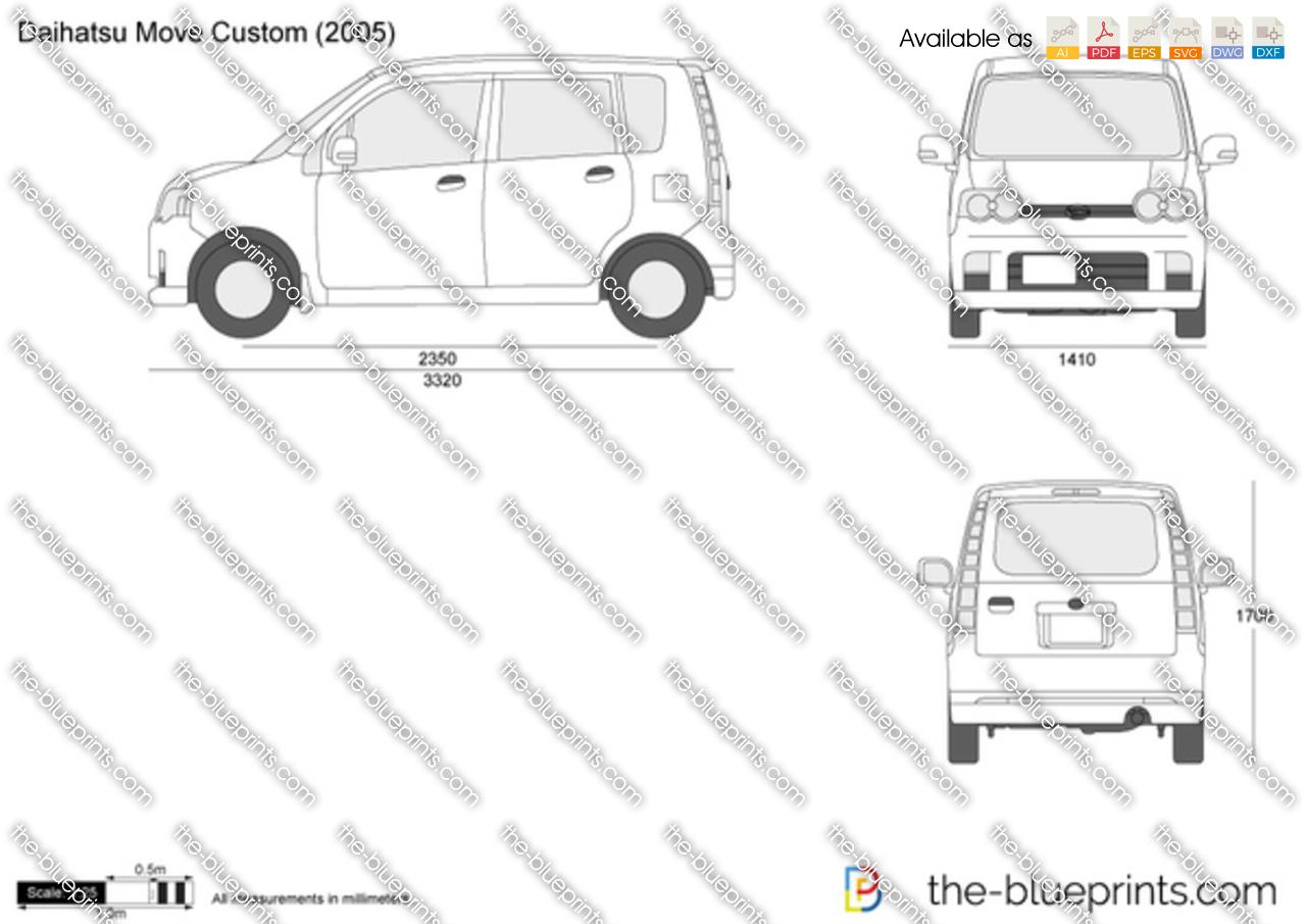 daihatsu move custom vector drawing