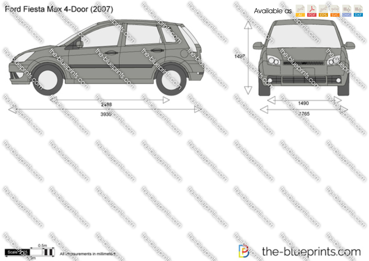 Ford Fiesta Max 5 Door Vector Drawing