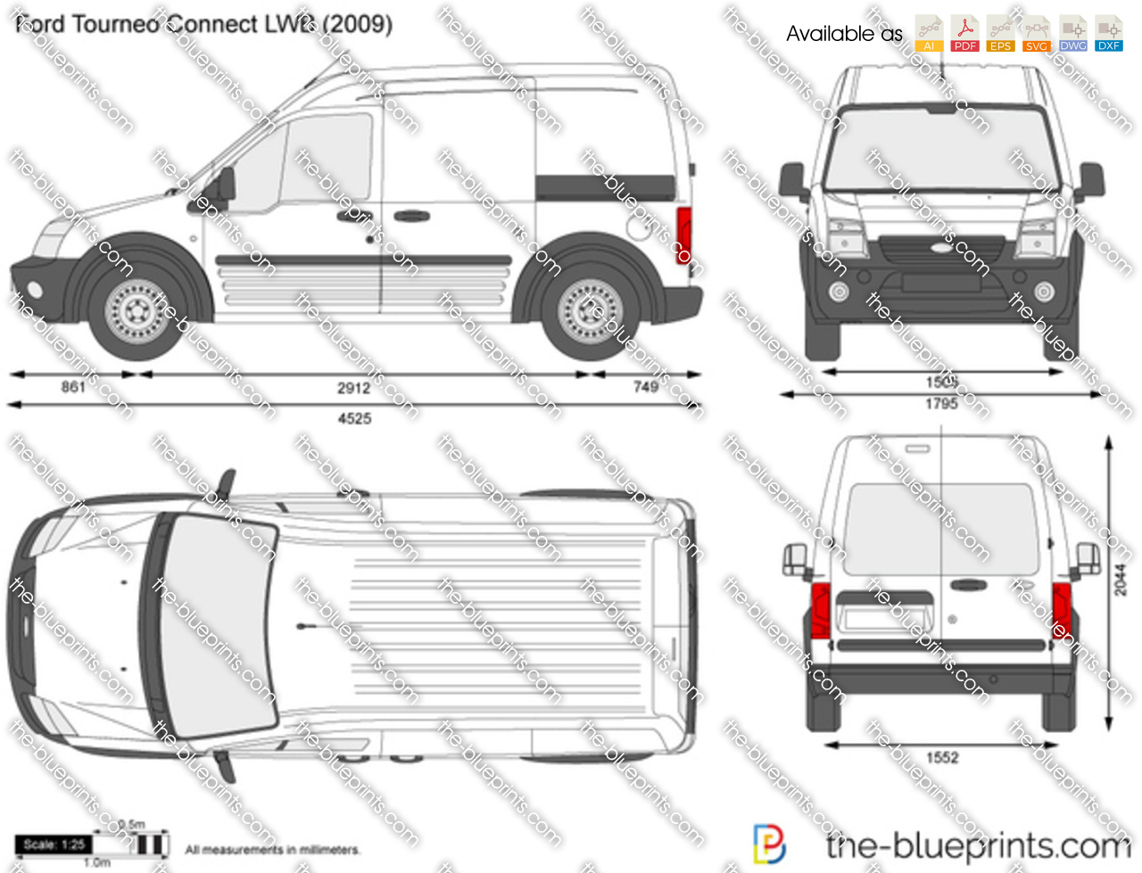 ford tourneo connect lwb vector drawing. Black Bedroom Furniture Sets. Home Design Ideas