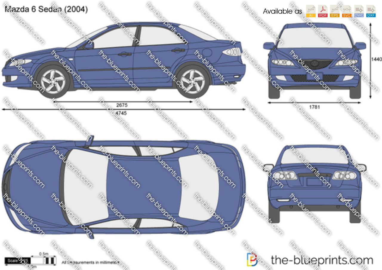 Mazda 6 Sedan Vector Drawing