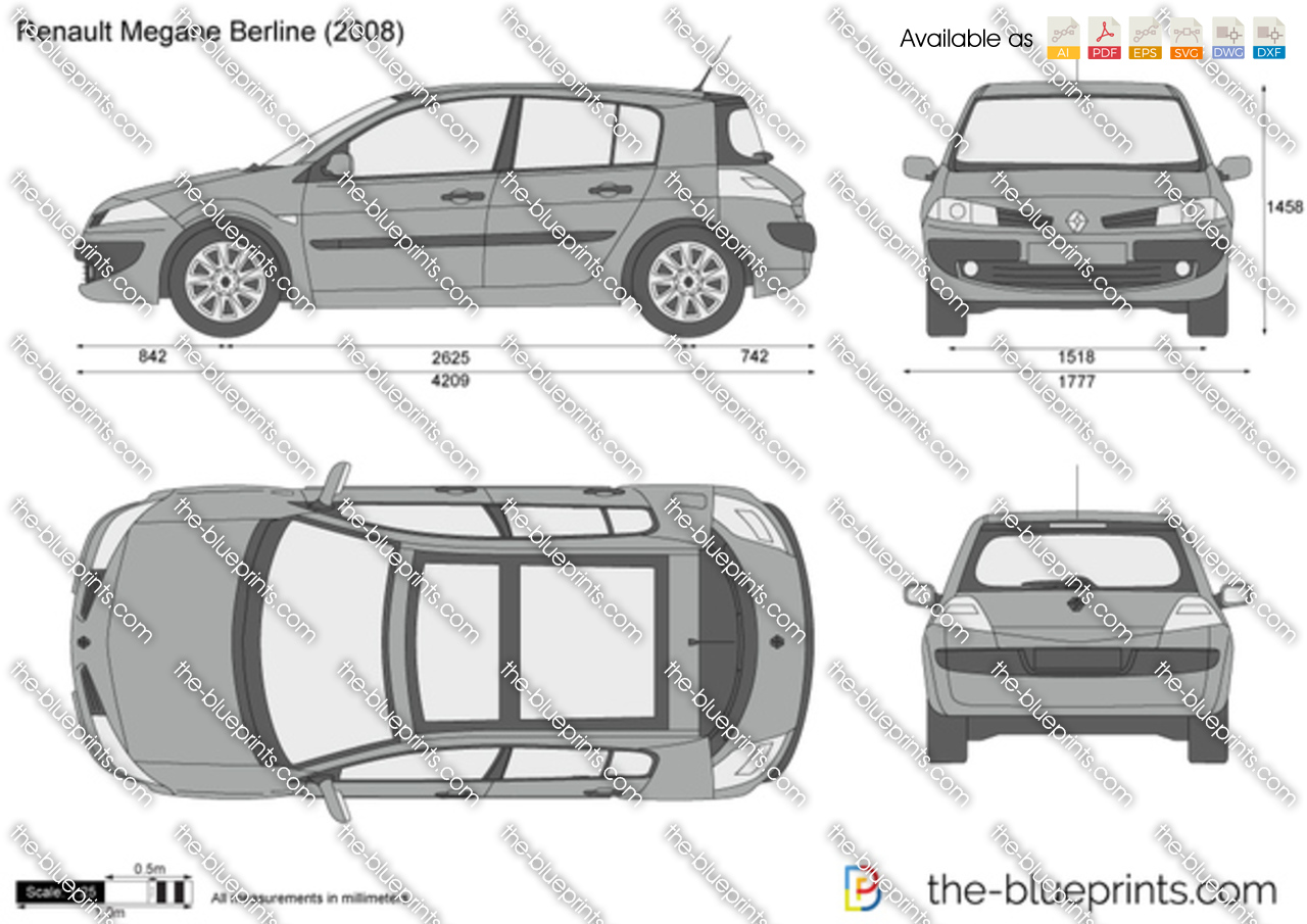 Renault Megane Berline Vector Drawing