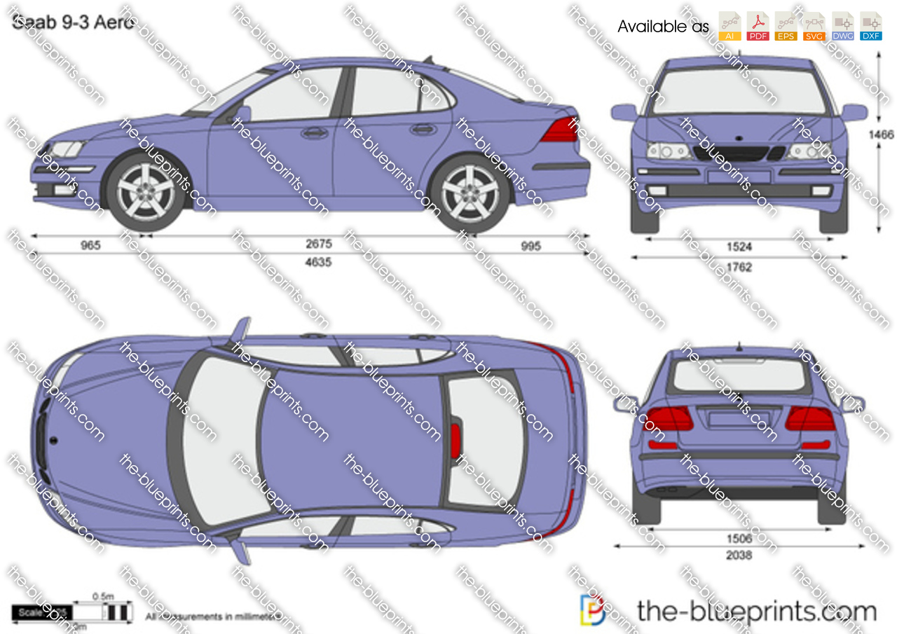 Saab 9 3 Aero Vector Drawing