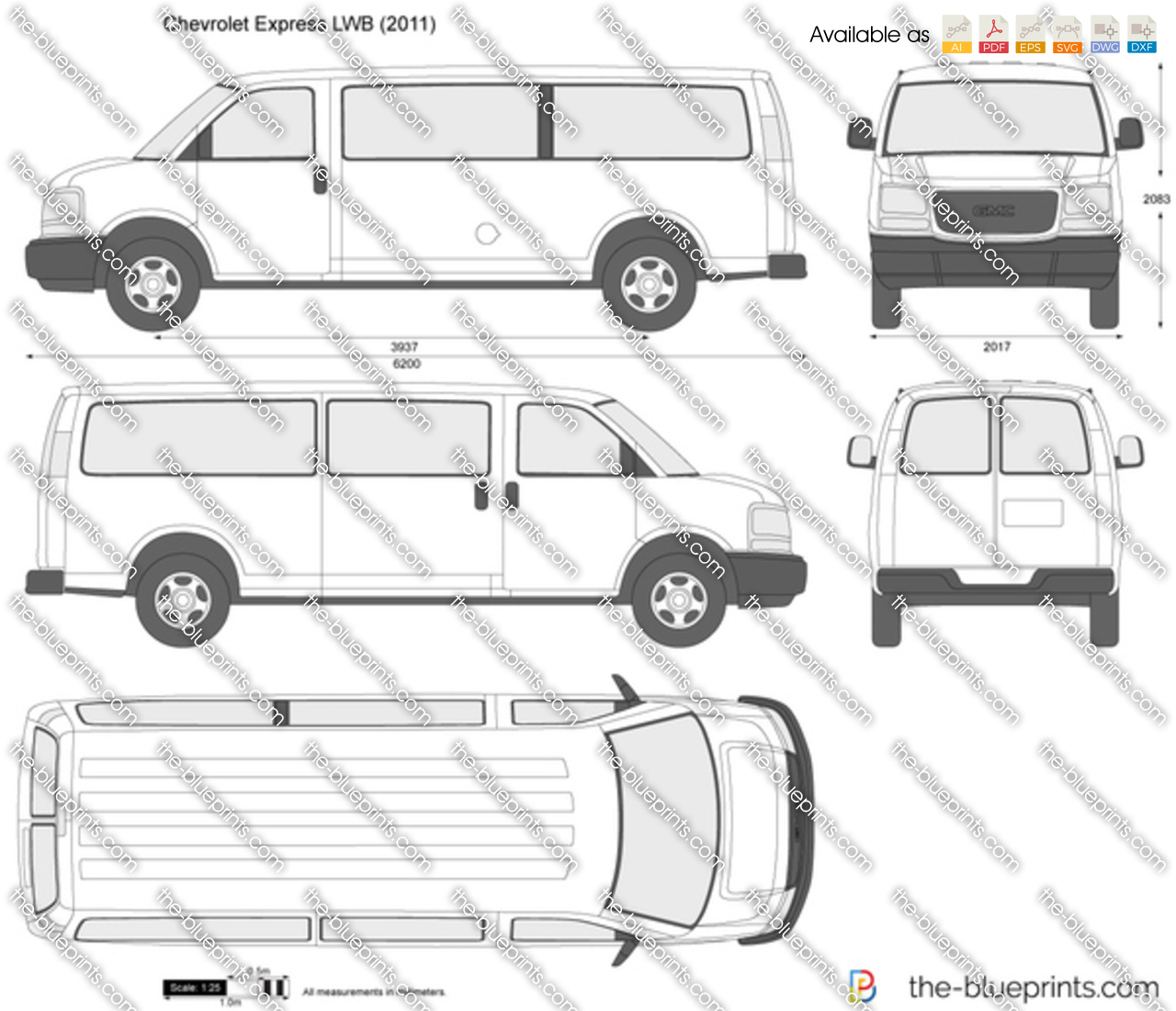 chevrolet express lwb vector drawing