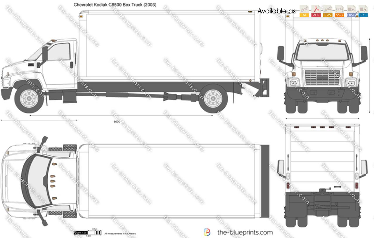 Chevrolet Kodiak C6500 Box Truck vector drawing