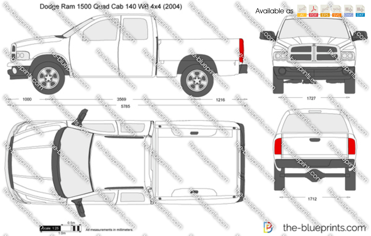 Dodge Ram 1500 Quad Cab 140 Wb 4x4 Vector Drawing To Engine Wiring Diagram 2003