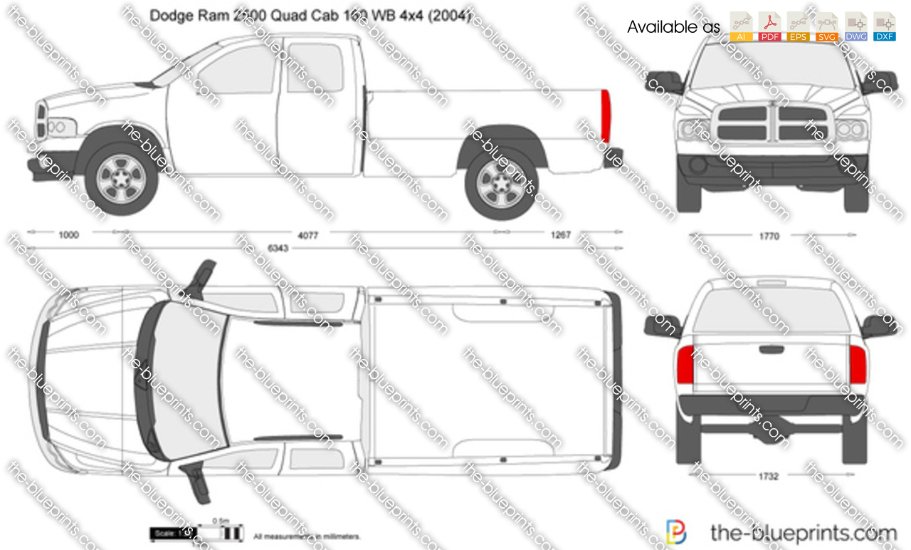 dodge ram 2500 quad cab 160 wb 4x4 vector drawing
