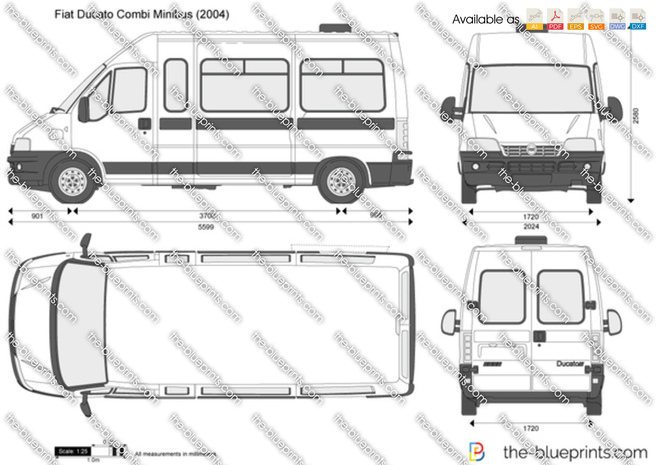 fiat ducato combi minibus vector drawing. Black Bedroom Furniture Sets. Home Design Ideas