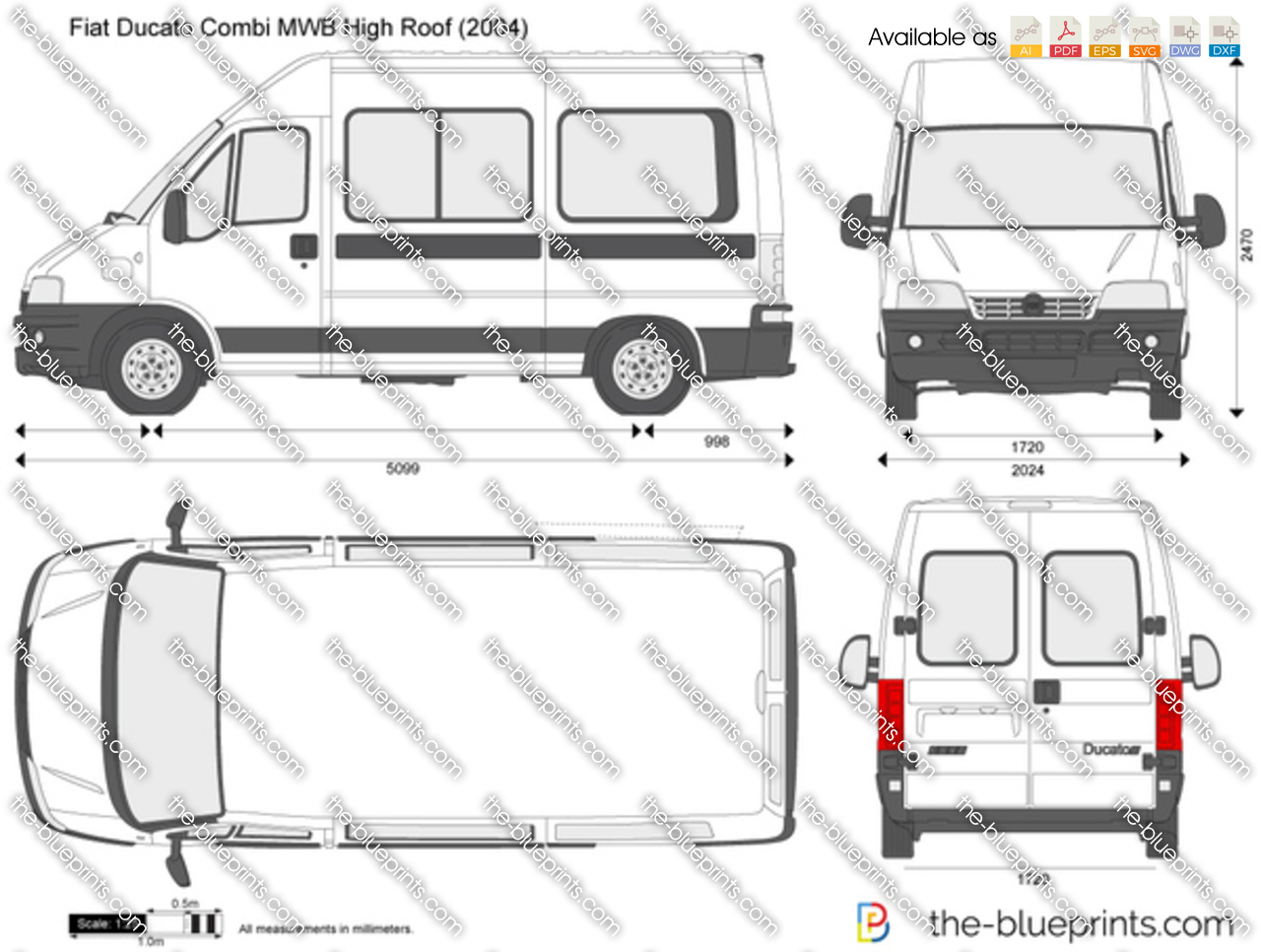 fiat ducato combi mwb high roof vector drawing. Black Bedroom Furniture Sets. Home Design Ideas