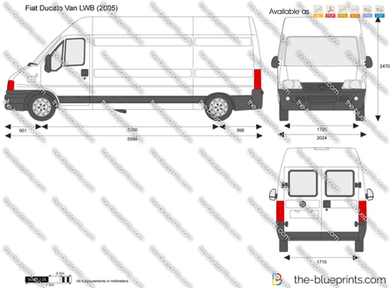 The vector drawing fiat ducato van lwb Blueprints for sale
