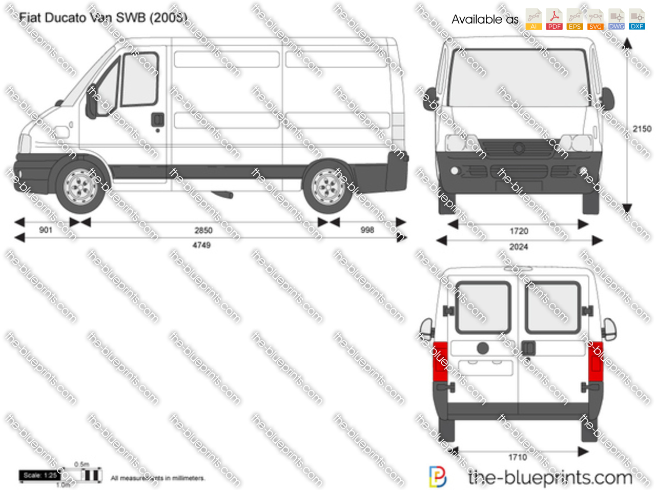 fiat ducato van swb vector drawing