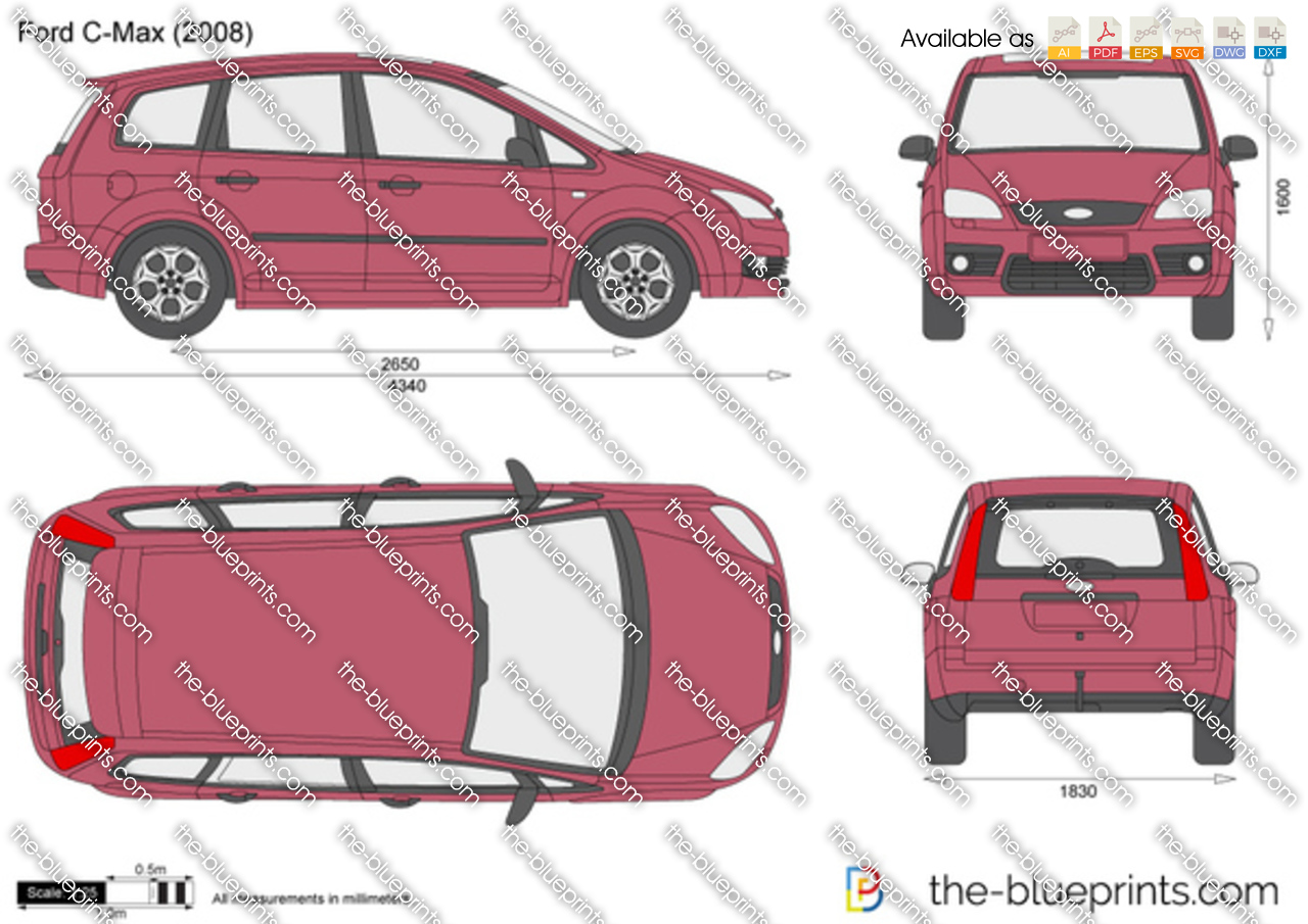 Ford C Max Vector Drawing