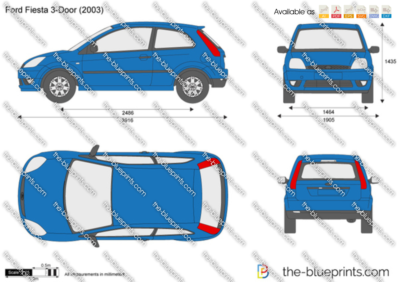 Ford Fiesta 3 Door Vector Drawing