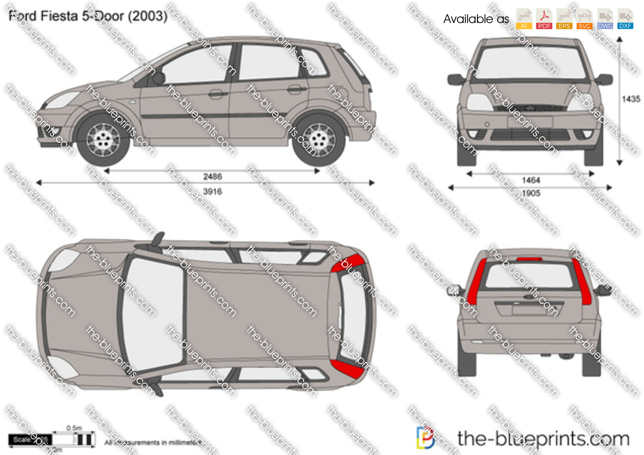 Ford Fiesta 5 Door Vector Drawing